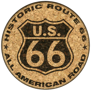 U.S. 66 Historic Route 66 All American Road Cork Coaster (light version)