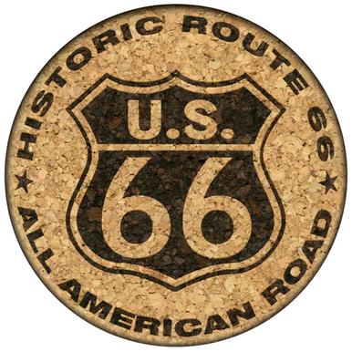 U.S. 66 Historic Route 66 All American Road Cork Coaster (light version)