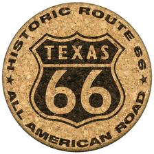 Texas Route 66 Cork Coaster