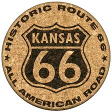 Kansas Route 66 Cork Coaster