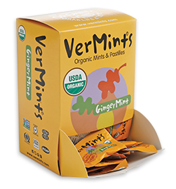 VerMints Organic Gingermints Mints – 100 Trial Packages (2 mints in each pack) in dispensing box