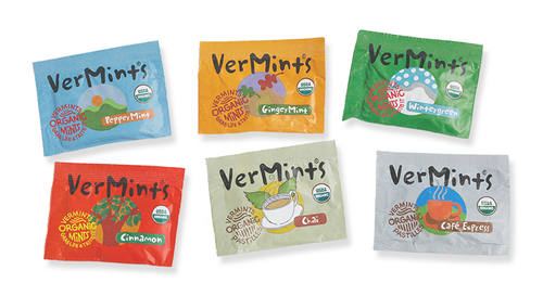 VerMints Organic Trial Size Packs - All 6 flavors PepperMint, Wintergreen, Cinnamon, GingerMint, Chai & Cafe Express