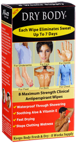 Dry Body Wipes will keep your body from sweating in areas the product has been applied to for up to 7 days.