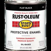 RUSTOLEUM 7776502 QT FLAT BLACK STOPS RUST