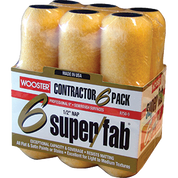 """WOOSTER R750 9"""" SUPER FAB 1/2"""" NAP ROLLER COVER 6PK"""