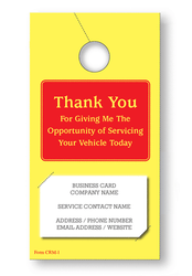 Thank You Service Hang Tag (holds business card) (250 per pack)