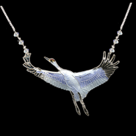 Whooping Crane Enamel Necklace