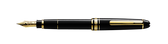 MONTBLANC Meisterstruck Fountain PenCartridge fountain pen, 14 K gold nib, barrel and cap made of black precious resin inlaid with Montblanc emblem, gold-plated clip and rings.Model # 15720