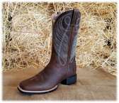 Women's Boots, Ariat Ladies Chocolate Brown with Blue Stitching Boots (in-store-only KC)