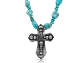 Jewelry, Montana Silversmiths Sign of Faith Necklace 21 in. Gunmetal Turq.