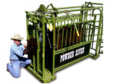 Powder River Livestock Equipment Handling, Value Auto Squeeze Chute, (MANY SIZES AVAILABLE IN-STORE ONLY, CONTACT STEVE AT L.A. HEARNE CO. KING CITY 831-385-4841; CONTACT TINA AT L.A. HEARNE CO. PRUNEDALE 831-663-1572)