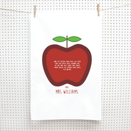 Personalised 'Teachers Calss Apple' Tea Towels
