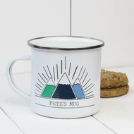 Personalised 'Three Mountains' Enamel mug