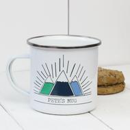 Personalised 'Three Mountains' Enamel mug