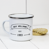 Personalised 'Name Established' Enamel mug