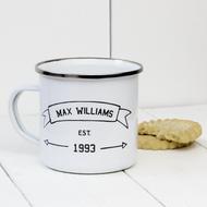 Personalised 'Name Established' Enamel mug