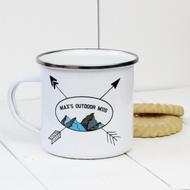 Personalised 'Mountains' Enamel mug