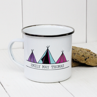 Personalised 'Three Tipi Tent'  Enamel mug