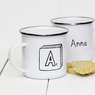 Personalised 'Scrabble'  Enamel mug