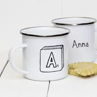 Personalised 'Scrabble'  Enamel mug