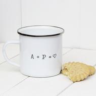 Personalised 'Initial Heart'  Enamel mug