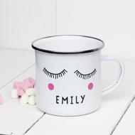 Personalised 'Sleepy Eyes' Enamel mug