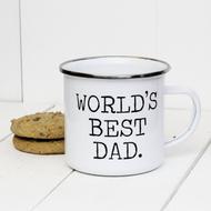 'World's best dad' Enamel mug