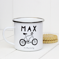 Personalised 'Hobby Hand Drawn' Enamel Mug