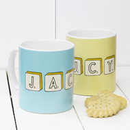 Personalised Hand drawn'Scrabble' mug