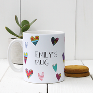 Personalised 'Hearts' mug