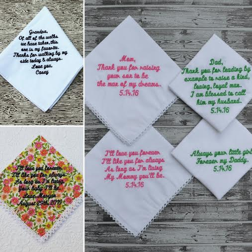 Embroidered Hankies For Mothers Of The Bride Groom Fathers And Grandfather