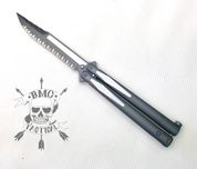 Microtech Tachyon III Gray/White (Gray/White full serrated blade) 173-D3GW