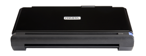 Primera Trio portable printer, with up to 10 sheets input tray. Input slot on the back for feeding and printing onto light cardstocks, envelopes and photo paper.