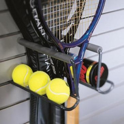 Stores up to seven rackets of any type. Foam guards protect rackets from marring and scratching. Integrated accessory rack holds two cans of balls or six loose balls. a-5020