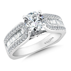 Valina Round Side Stone Engagement Ring R036W