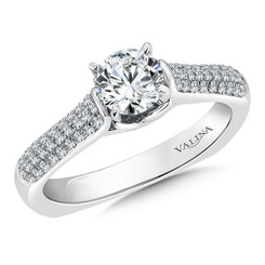 Valina Round Side Stone Engagement Ring R042W