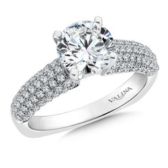 Valina Round Side Stone Engagement Ring R162W