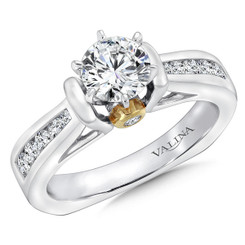 Valina Round Side Stone Engagement Ring R9067W