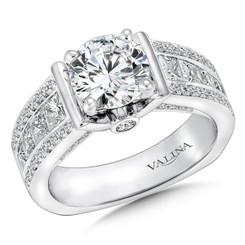 Valina Round Side Stone Engagement Ring R9221W