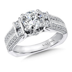 Valina Round Side Stone Engagement Ring R9223W