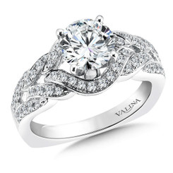 Valina Round Side Stone Engagement Ring R9260W