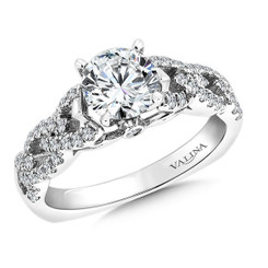 Valina Round Criss Cross Engagement Ring R9266W