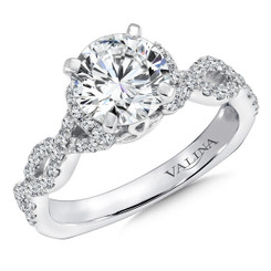Valina Round Criss Cross Engagement Ring R9268W