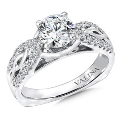 Valina Round Side Stone Engagement Ring R9269W