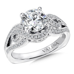 Valina Round Side Stone Engagement Ring R9271W