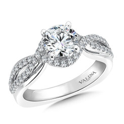 Valina Round Side Stone Engagement Ring R9280W