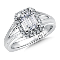 Valina Emerald Cut Halo Engagement Ring R9284W