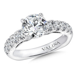Valina Round Side Stone Engagement Ring R9293W