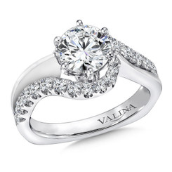Valina Round Side Stone Engagement Ring R9295W