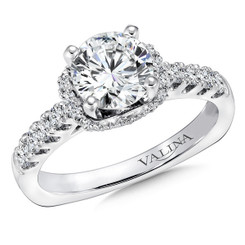Valina Round Side Stone Engagement Ring R9299W